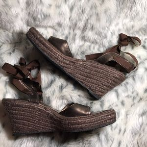 Kenneth Cole leather wedge sandals, size 9.5